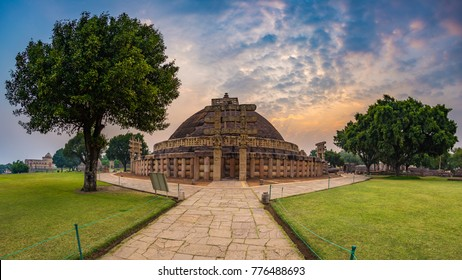 Sanchi Stupa, Madhya Pradesh, India. Ancient buddhist building, religion mystery, carved stone. Sunrise sky.