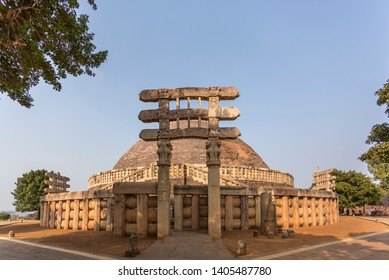 Sanchi Stupa, on a hilltop at Sanchi Town in Raisen District of the State of Madhya Pradesh, India.