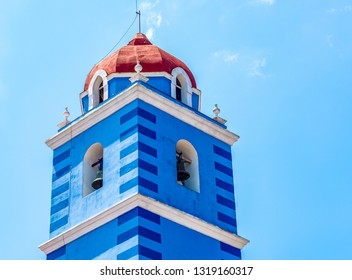 Sancti Spiritus, Cuba-January 6, 2019: The Holy Spirit Major Parish Cathedral (Spanish:  Iglesia Parroquial Mayor del Espíritu Santo). The place of worship is a famous tourist attraction in the city