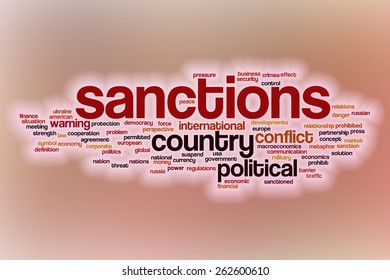 Sanctions word cloud concept with abstract background