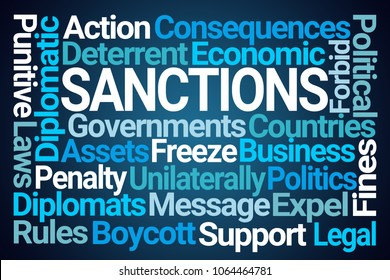 Sanctions Word Cloud on Blue Background
