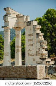 The Sanctuary Of Asklepios ruins at the Epidaurus in Greece. Epidaurus is a ancient city dedicated to the ancient Greek God of medicine Asclepius.