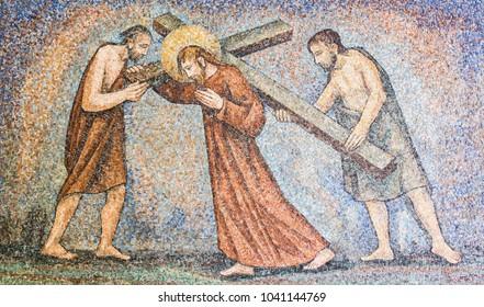Sanctuary of Caravaggio (BG), ITALY - 24-8-2016. Mosaic : Via crucis
