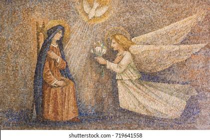 Sanctuary of Caravaggio (BG), ITALY - 24-8-2017. Annunciation of VIrgin mosaic