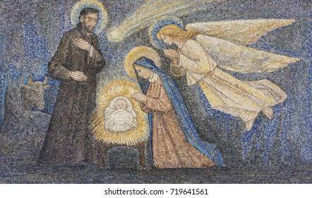 Sanctuary of Caravaggio (BG), ITALY - 24-8-2017. Nativity mosaic