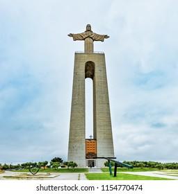 The Sanctuary of Christ the King, Santuario de Cristo Rei, in Almada, Portugal.