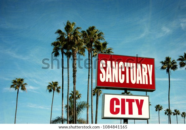 sanctuary city sign with palm trees