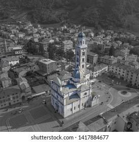 Sanctuary of Madonna of Tirano. Valtellina. Aerial shot