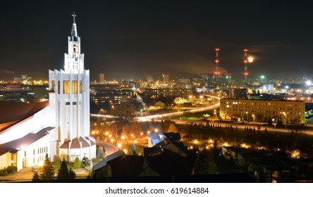 Sanctuary of Mercy in Bialystok, Poland by night - Shutterstock ID 619614884