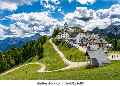The sanctuary of Monte Lussari situated at the top of a mountain near Tarvisio in Friuli Venezia Giulia