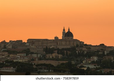The sanctuary of Our Lady of Loreto at sunset, Ancona, Marche, Italy
