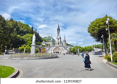 The Sanctuary of Our Lady of Lourdes or the Domain. Basilique de Notre-Dame de l'Immaculée-Conception de Lourdes. The Hautes-Pyrenees department in the Occitanie region in south-western France.