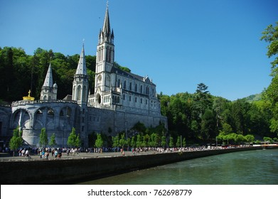 Sanctuary of Our Lady of Lourdes, view from the other bank of the river Gave de Pau