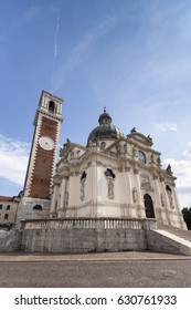 Sanctuary of Our Lady of Monte Berico, facade of the basilica, dome and bell tower, Vicenza (UNESCO), Veneto, Italy
