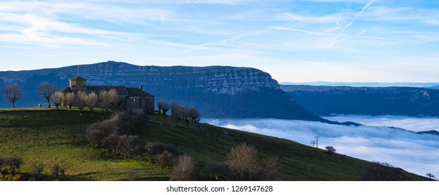 Sanctuary of San Miguel de Aralar high up between mountains and clouds, Navarre