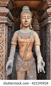 Sanctuary of Truth in Pattaya, carved wooden statue, Thailand