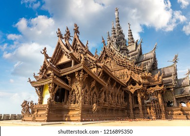Sanctuary of Truth in Pattaya, Thailand in a summer day