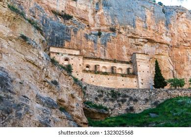 Sanctuary of the Virgin of Jaraba, a XVIII Century temple built among the rocks in the Hoz Seca ravine in Aragon, Spain.