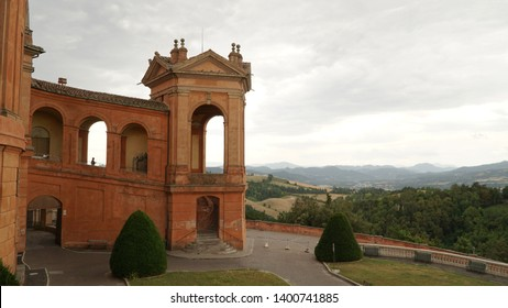 The sanctuary of the Virgin of Saint Luke on the top of the Colle della Guardia Mountain in Bologna, Italy.
