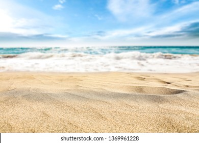 Sand background of free space for your decoration. Blurred sea with sky. Summer time.