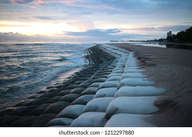 sand bag laid on the beach