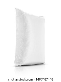 sand bag or white plastic canvas sack for rice or agriculture product isolated on white background