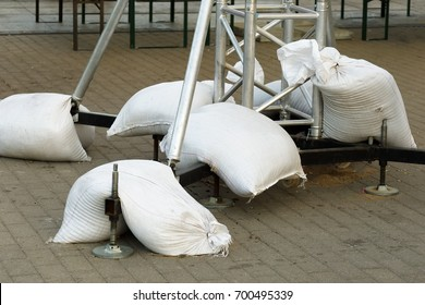 Sand bags are used for weight