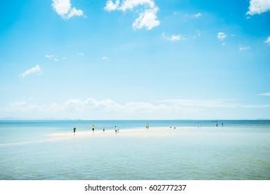 Sand bank in Nathon Beach, Koh Samui Island, Thailand