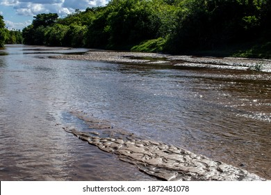 sand banks on a silted riverbed in Brazil