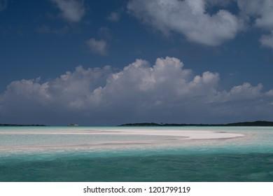 A sand bar of Man-O-War Cay  and Great Exuma near Rolletown, Bahamas