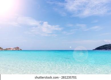 sand beach against blue sky. Similan islands, Thailand, Phuket.