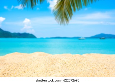 Sand beach and Beautiful sea background in summer.