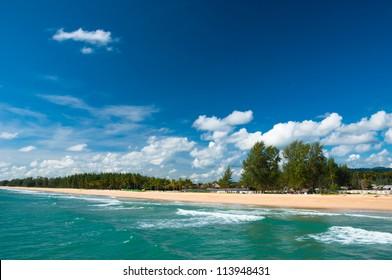 sand beach and blue sky at Phangnga Thailand