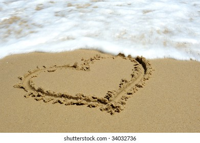 In sand beach heart-shape
