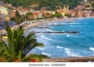 Sand beach in historical Laigueglia resort town on italian Riviera, Alassio, Liguria, Italy