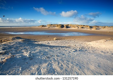 sand beach in Ijmuiden by North sea, Netherlands