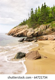 Sand Beach, rocky coastline and pine forest