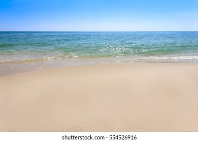 sand beach with sea wave water at phuket, travel concept