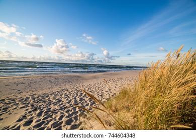 Sand beach and sea waves, Baltic sea seashore during sunset. Curonian spit, Kaliningrad region, Russia