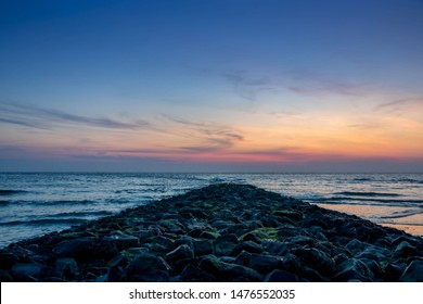 sand beach sunset view in island norderney, travel Germany