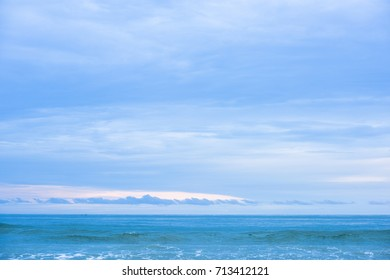 sand of beach Thailand sea. Blue sea with white sand beach on blue sky background, Summer concept