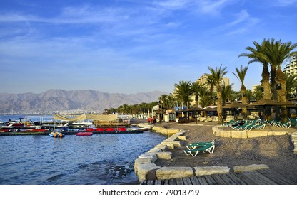 Sand beach and water sport facilities in Eilat city, Israel