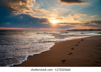 Sand beach with waves and cloud colorful image