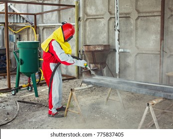 Sand  blasting of steel construction