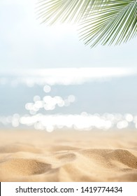 Sand with blurred Palm and tropical beach bokeh background, Summer vacation and travel concept. Copy space.