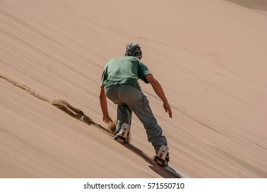 Sand Boarder in the Dessert of the Atacama, Chile, South America