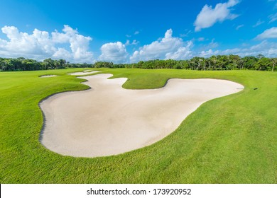 Sand bunker at the golf course. Luxury mexican resort. Bahia Principe, Riviera Maya.