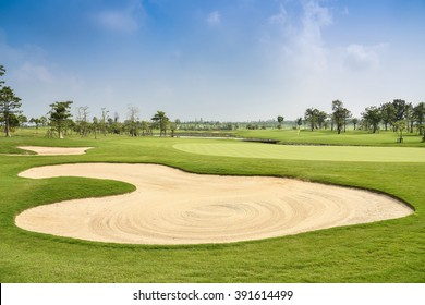 Sand bunker on the beautiful golf course