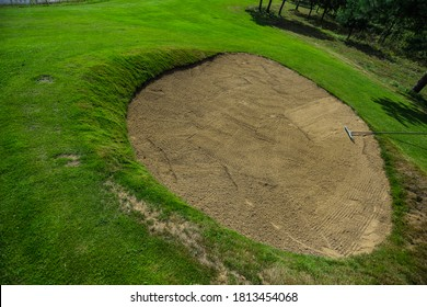 The Sand bunker on golf course.