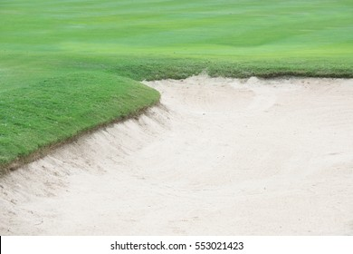 Sand bunkers at the beautiful golf course